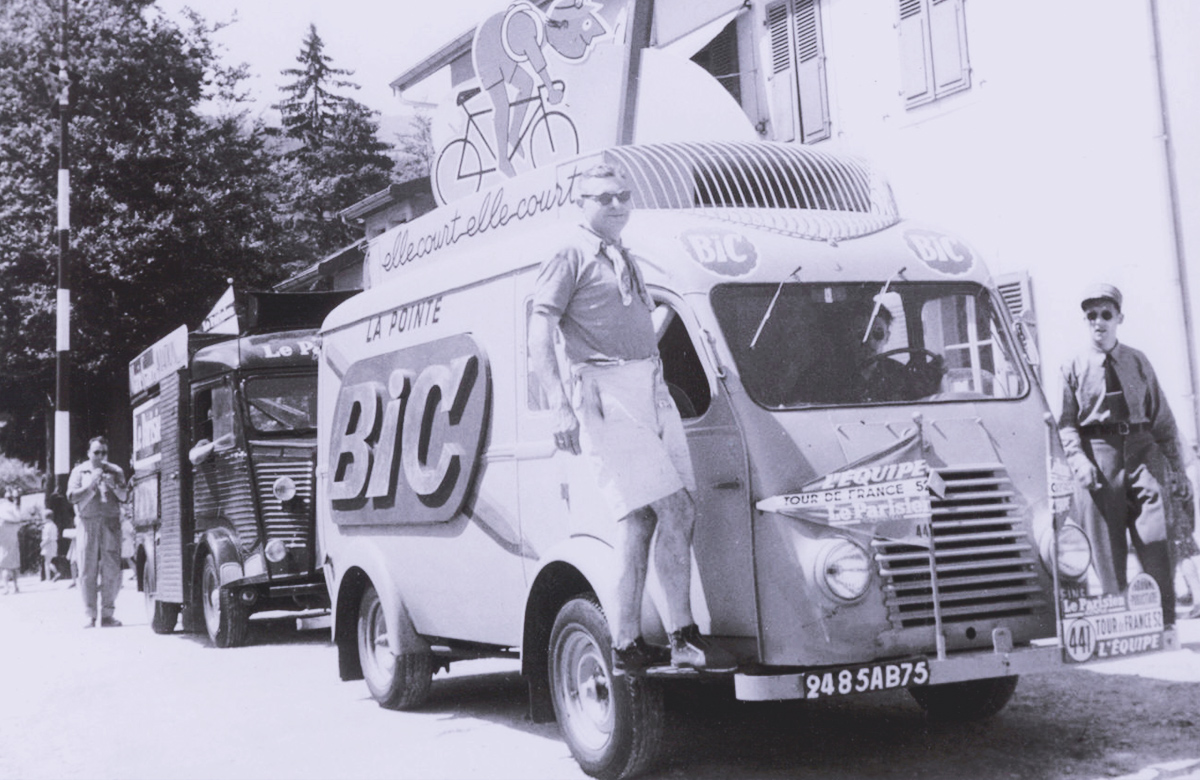 Black and white picture of an old BIC publicity caravan