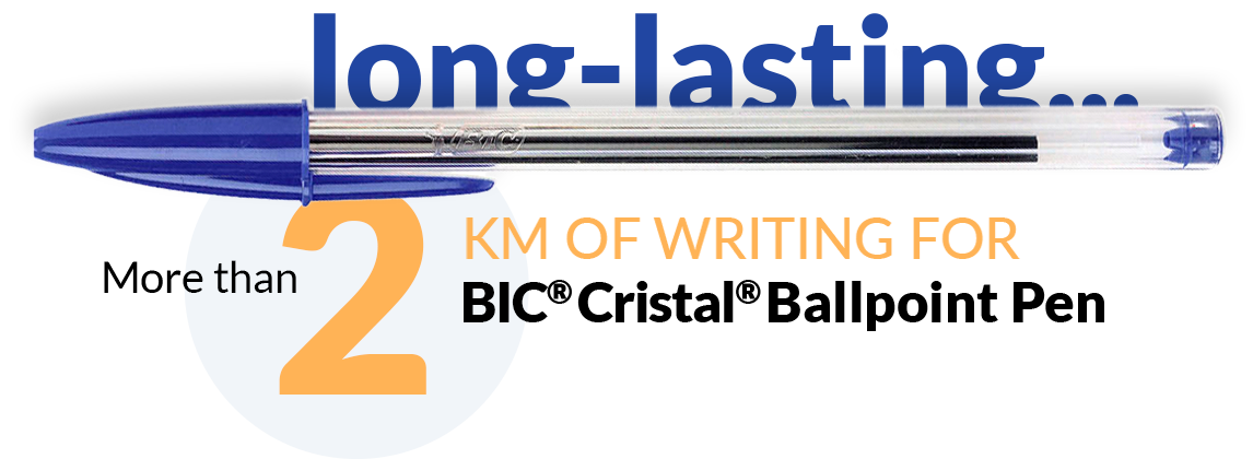 pen and text more than 2 km of writing